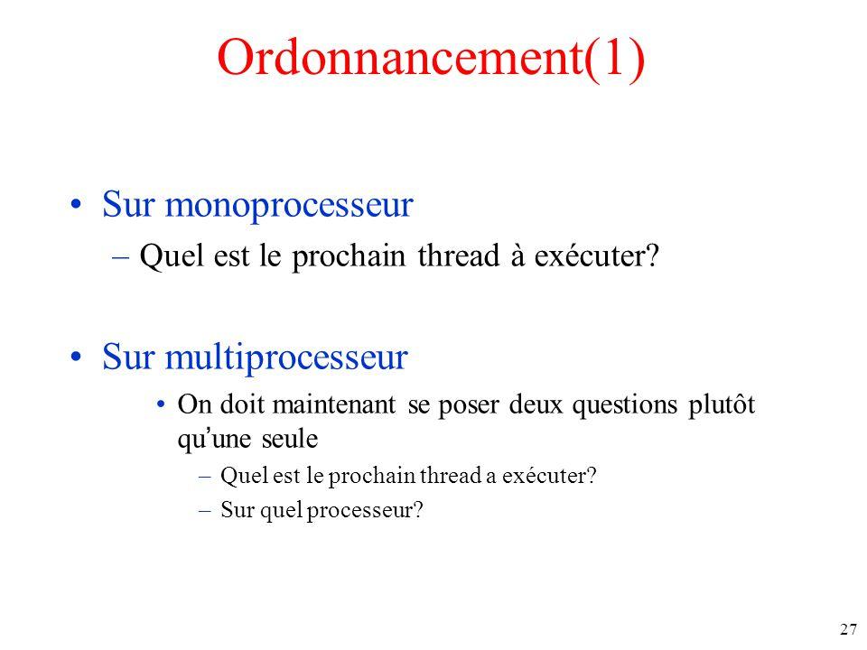 Ordonnancement(1) Sur monoprocesseur Sur multiprocesseur