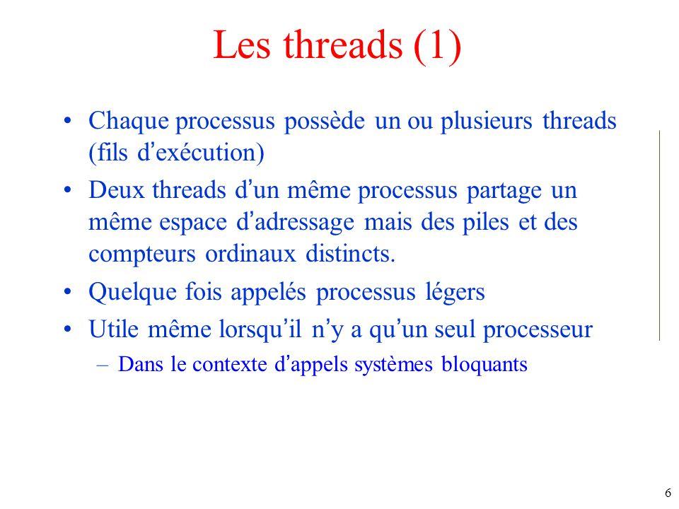 Les threads (1) Chaque processus possède un ou plusieurs threads (fils d'exécution)