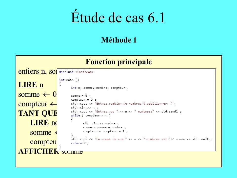 Étude de cas 6.1 Méthode 1 Fonction principale