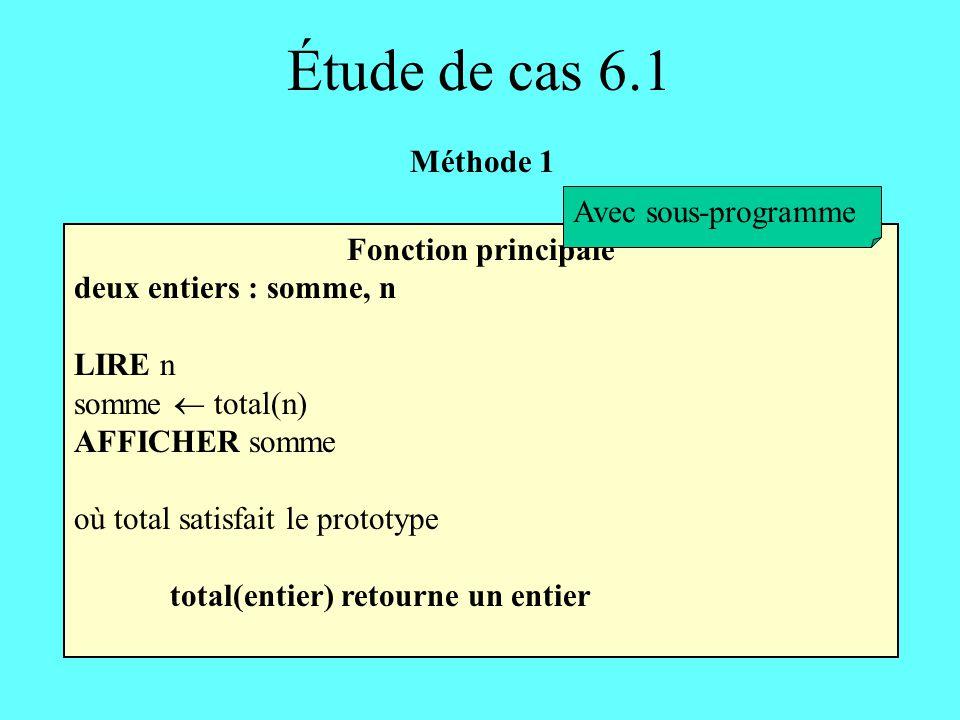 Étude de cas 6.1 Méthode 1 Avec sous-programme Fonction principale