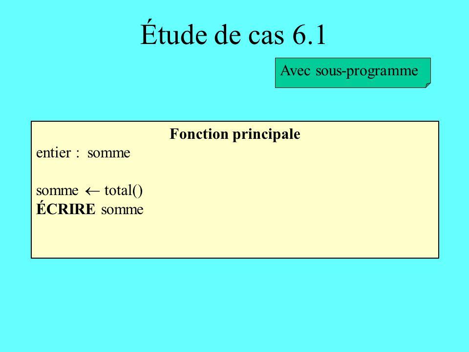 Étude de cas 6.1 Avec sous-programme Fonction principale