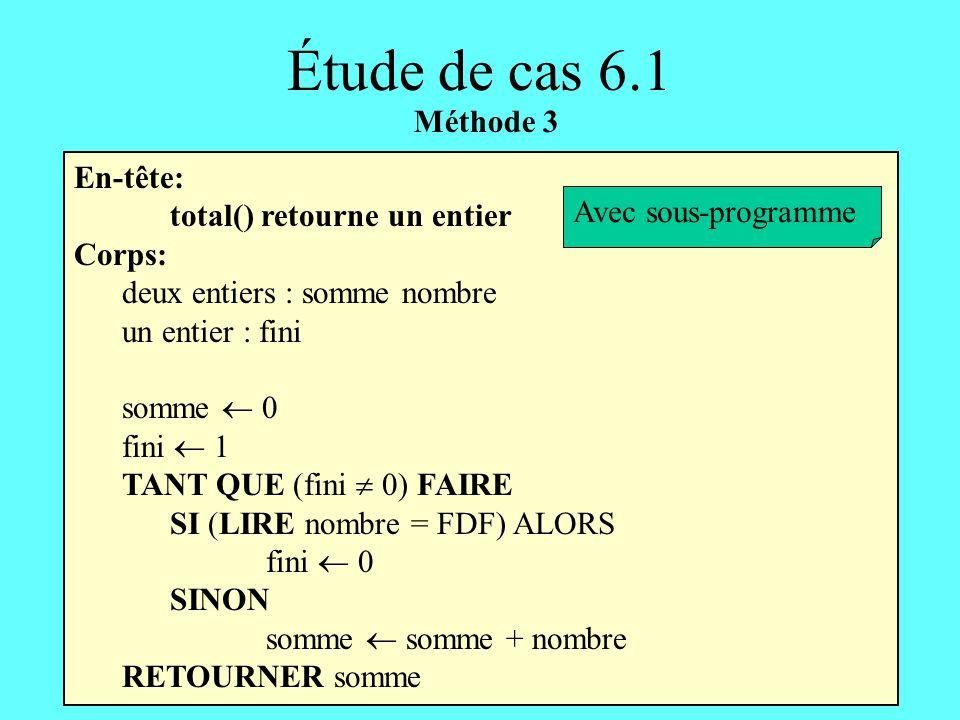 Étude de cas 6.1 Méthode 3 En-tête: total() retourne un entier