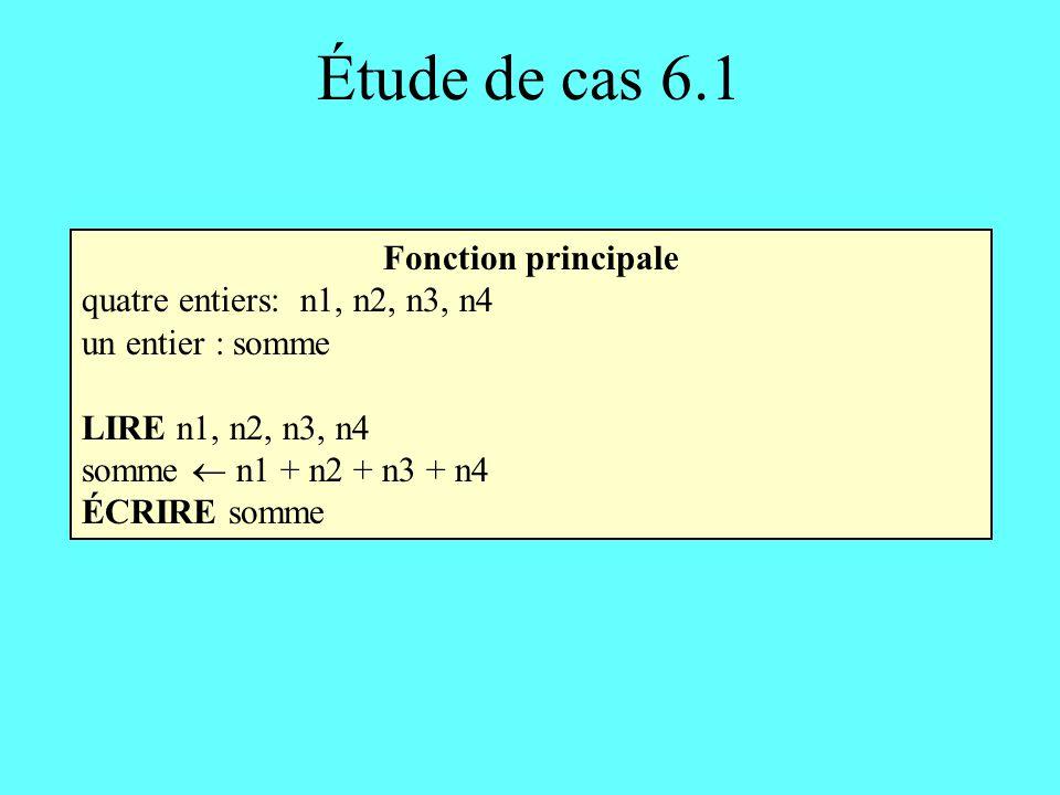 Étude de cas 6.1 Fonction principale quatre entiers: n1, n2, n3, n4