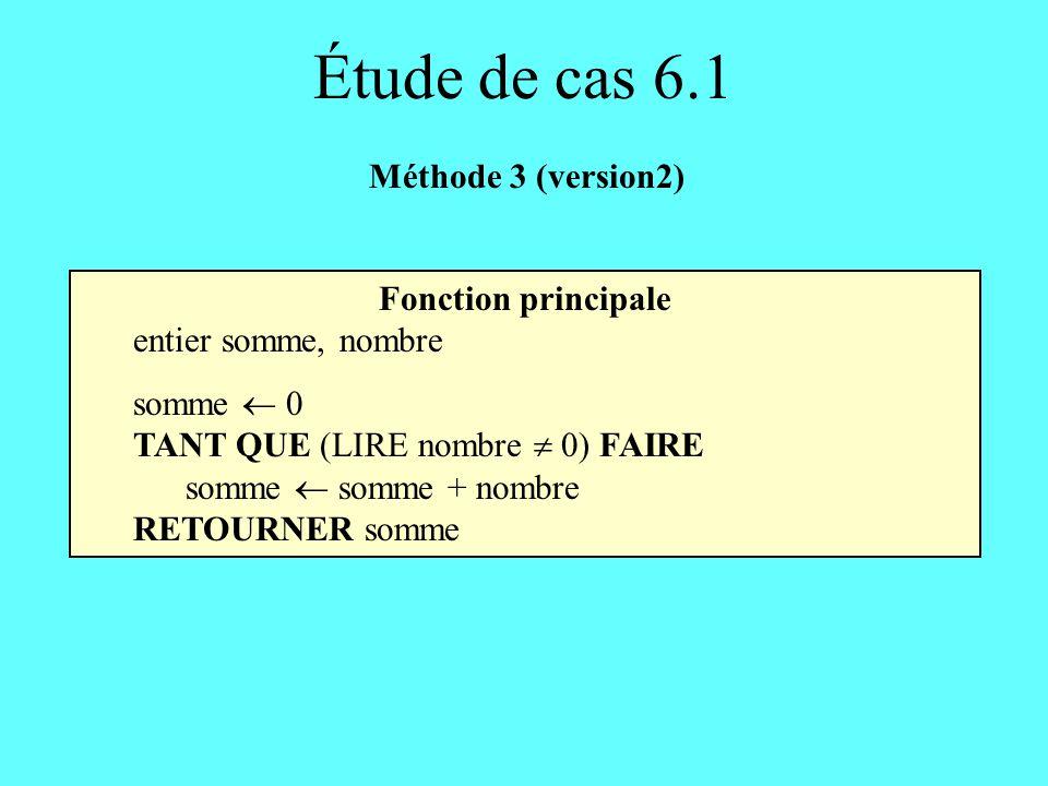 Étude de cas 6.1 Méthode 3 (version2) Fonction principale