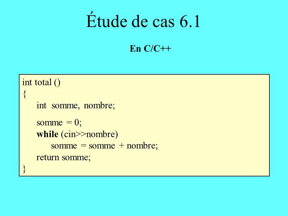Étude de cas 6.1 En C/C++ int total () { int somme, nombre; somme = 0;