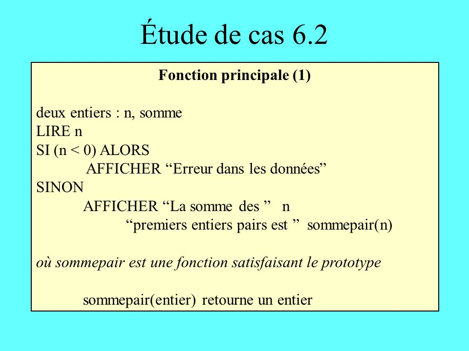 Fonction principale (1)