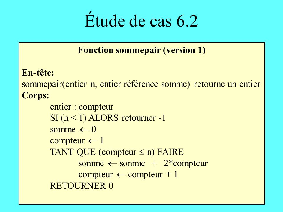 Fonction sommepair (version 1)