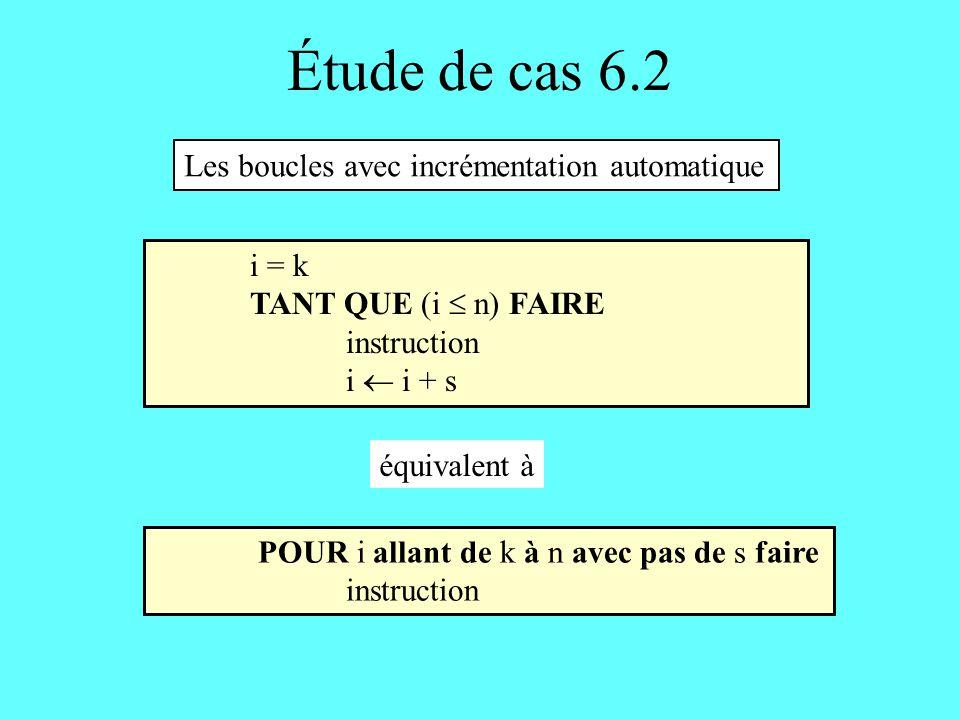 Étude de cas 6.2 Les boucles avec incrémentation automatique i = k