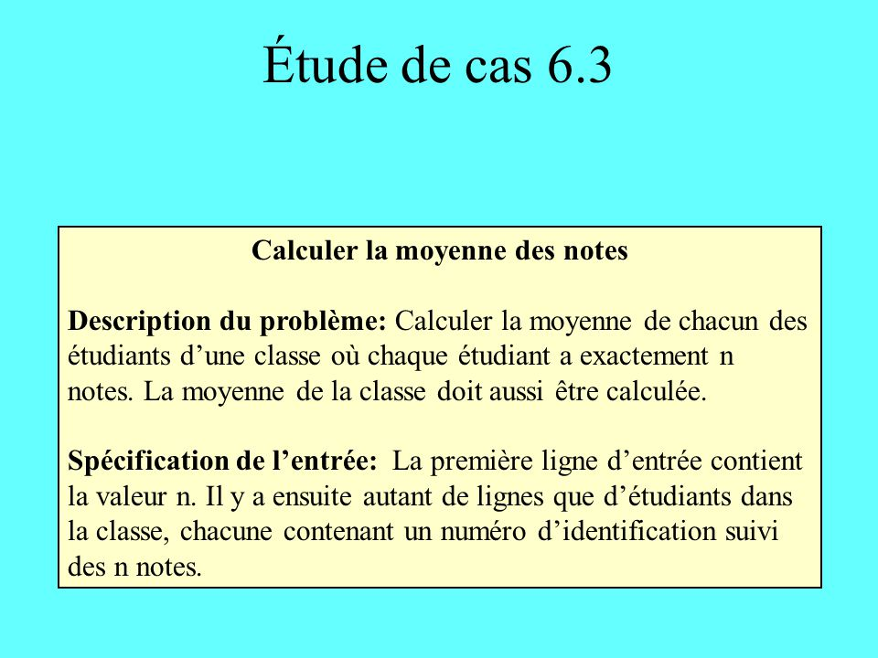 Calculer la moyenne des notes