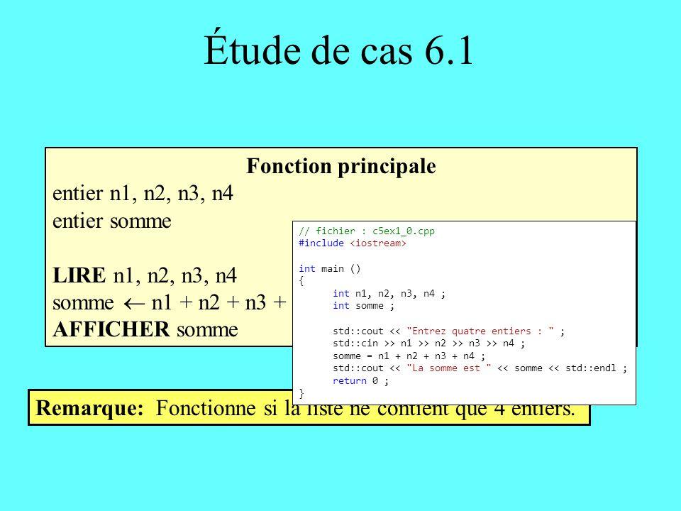 Étude de cas 6.1 Fonction principale entier n1, n2, n3, n4