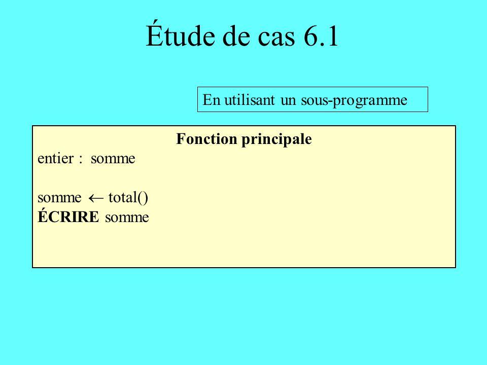 Étude de cas 6.1 En utilisant un sous-programme Fonction principale