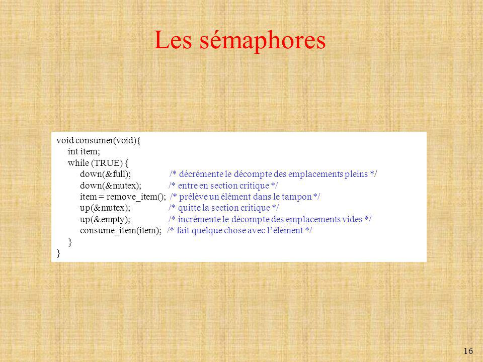 Les sémaphores void consumer(void){ int item; while (TRUE) {