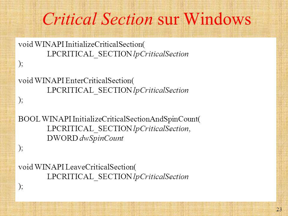 Critical Section sur Windows