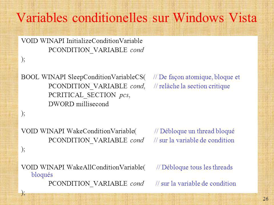 Variables conditionelles sur Windows Vista