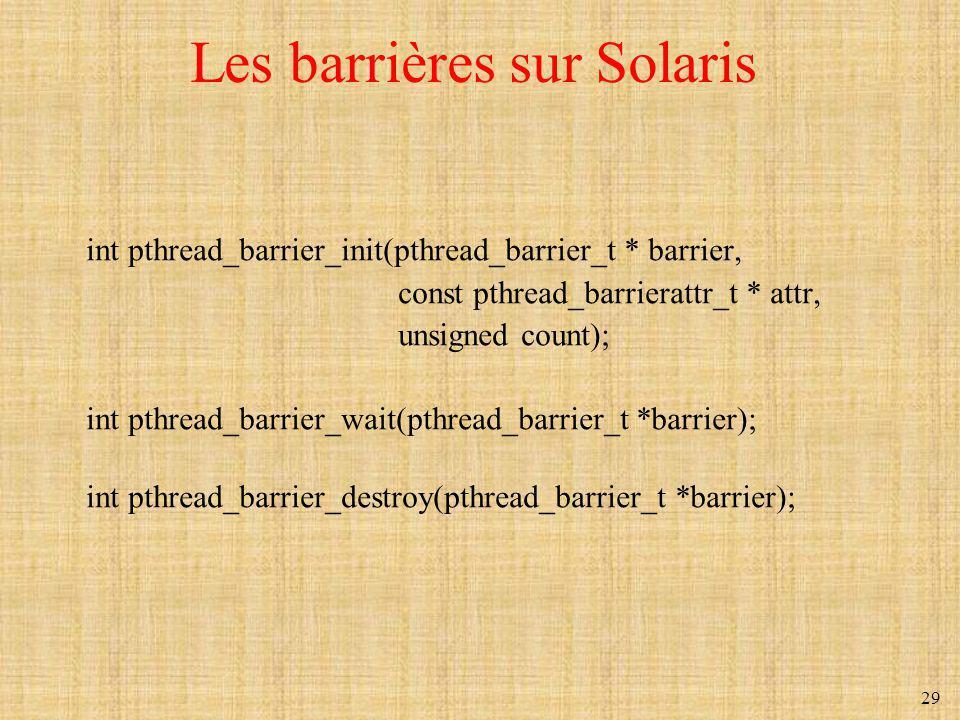 Les barrières sur Solaris
