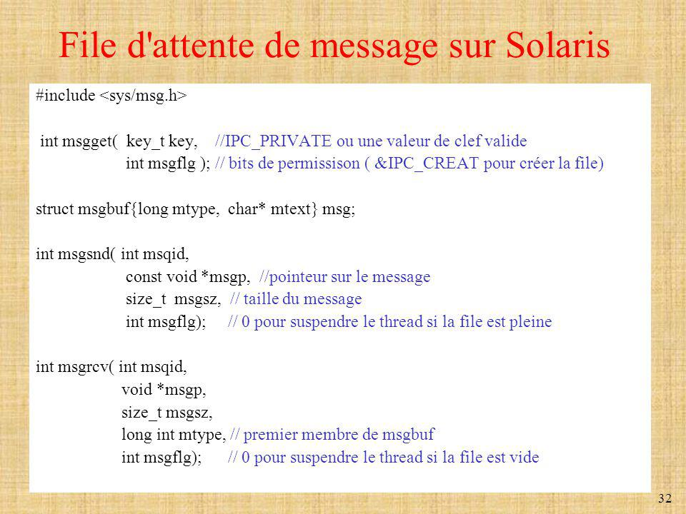 File d attente de message sur Solaris