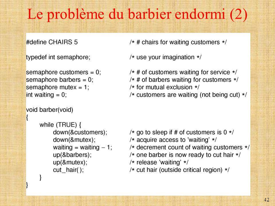 Le problème du barbier endormi (2)