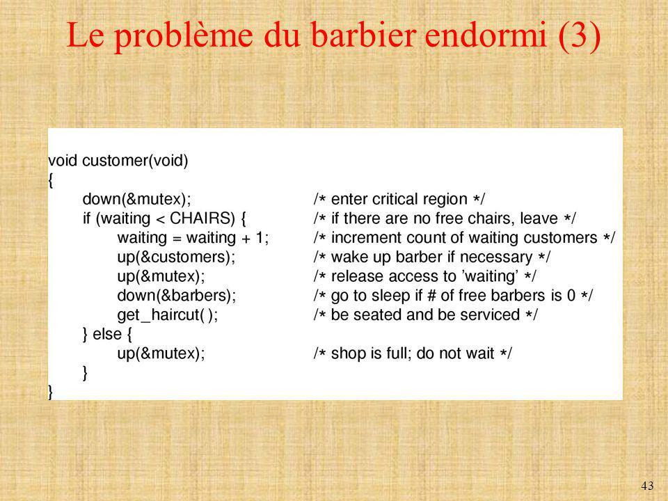 Le problème du barbier endormi (3)