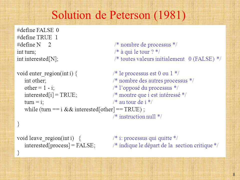 Solution de Peterson (1981)