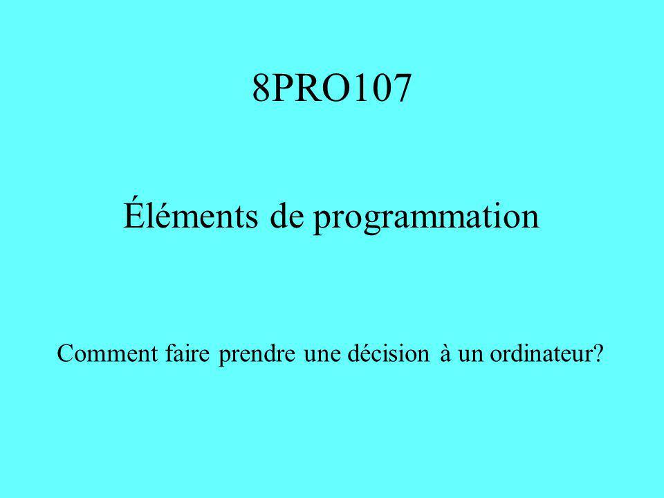 8PRO107 Éléments de programmation