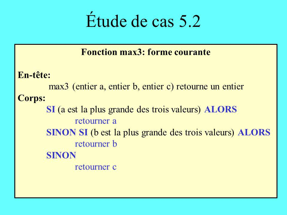 Fonction max3: forme courante