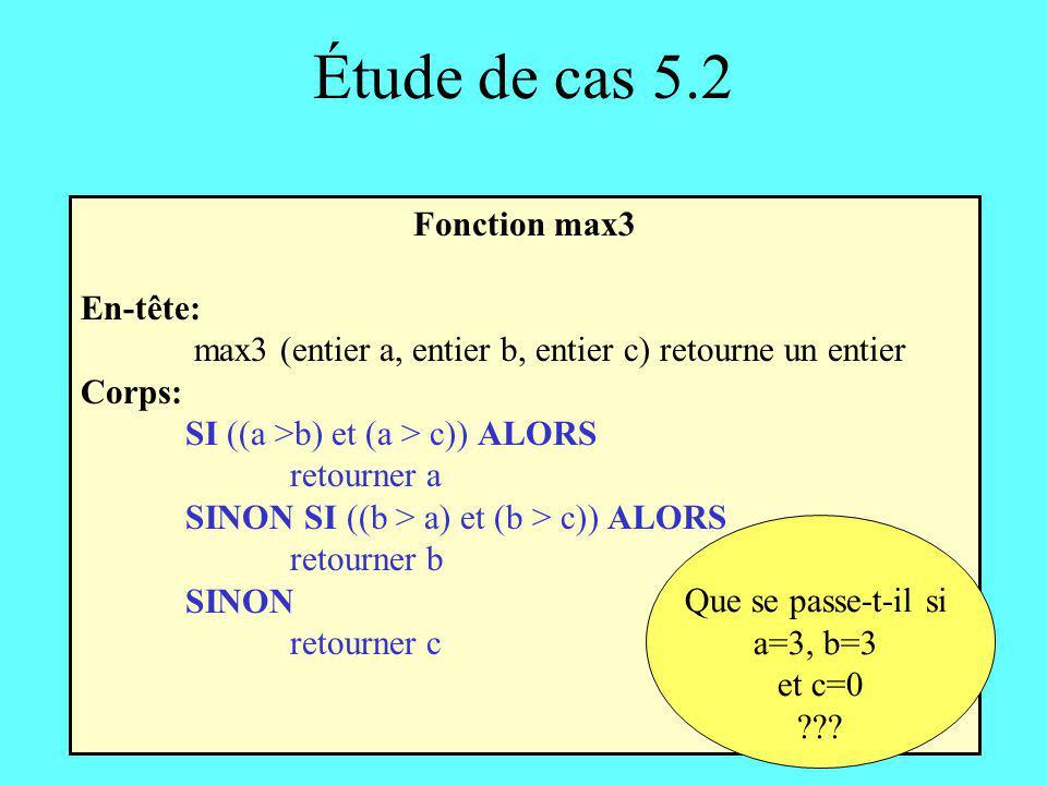 Étude de cas 5.2 Fonction max3 En-tête: