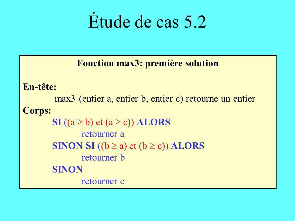 Fonction max3: première solution
