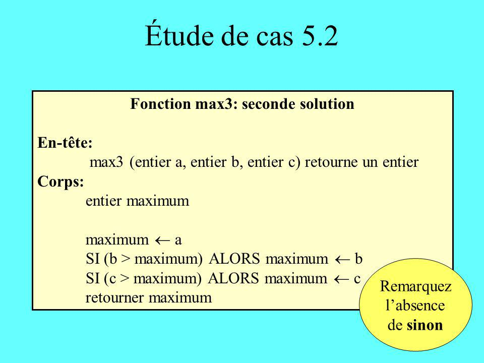 Fonction max3: seconde solution