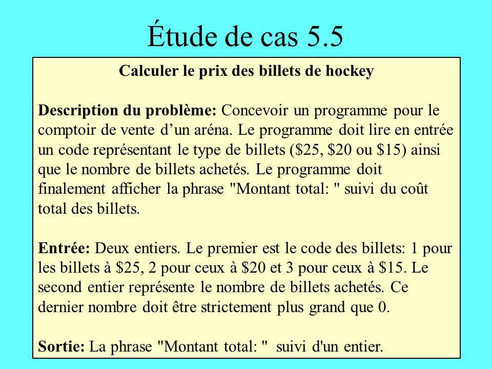 Calculer le prix des billets de hockey