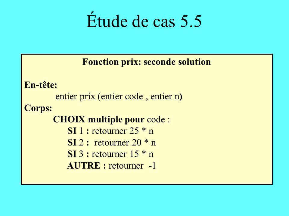 Fonction prix: seconde solution