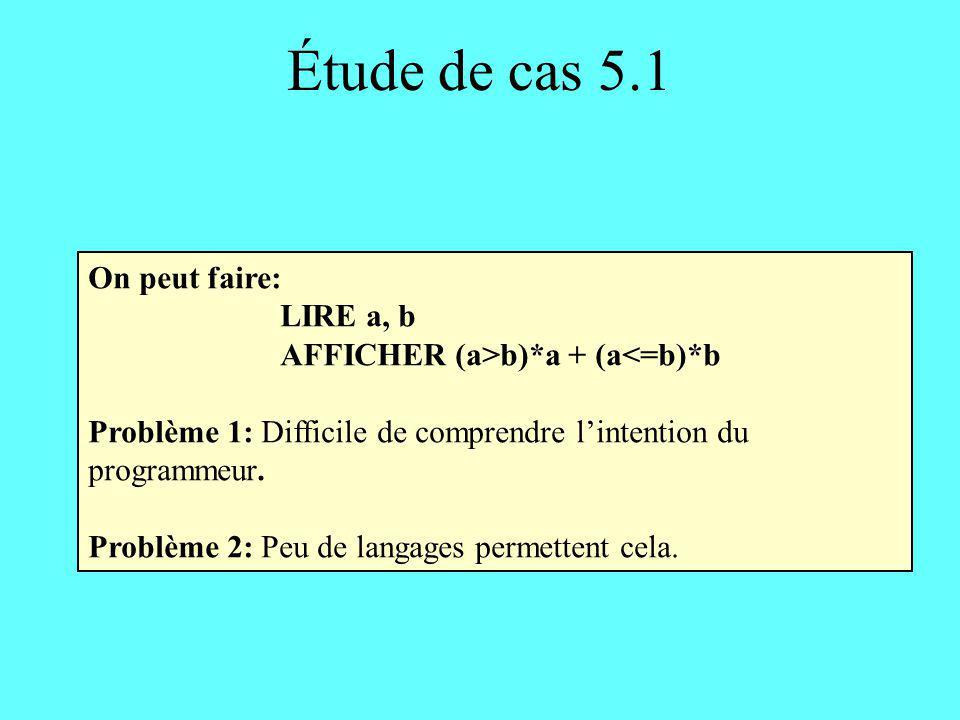 Étude de cas 5.1 On peut faire: LIRE a, b