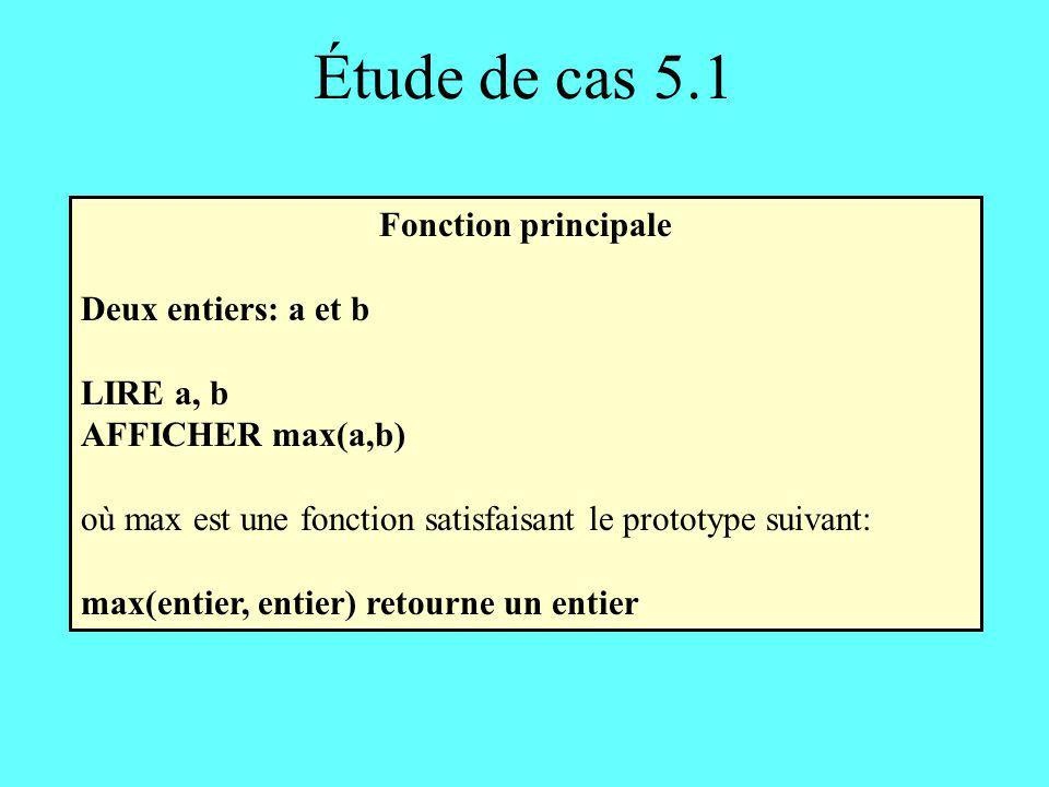 Étude de cas 5.1 Fonction principale Deux entiers: a et b LIRE a, b