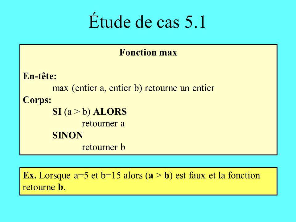 Étude de cas 5.1 Fonction max En-tête: