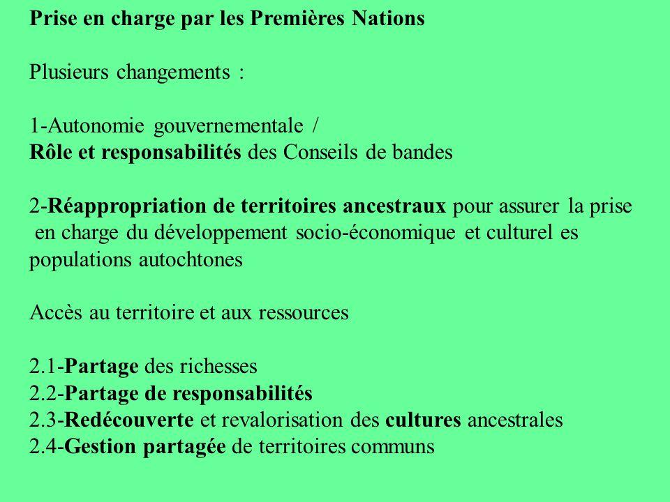 Prise en charge par les Premières Nations