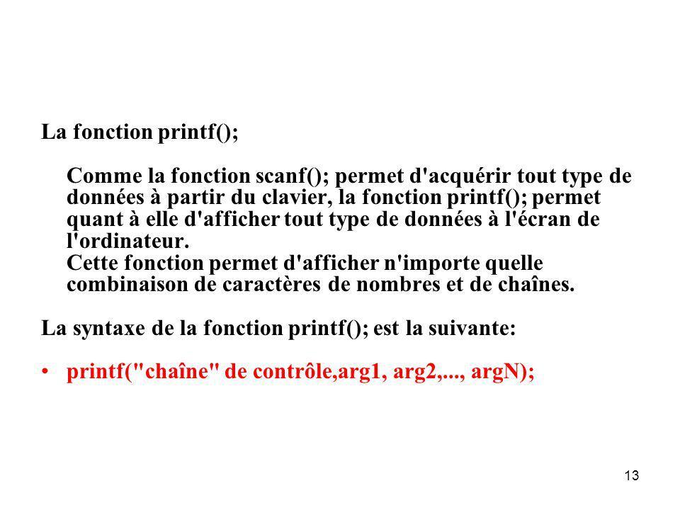 La fonction printf();