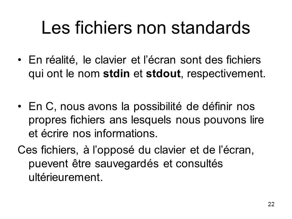 Les fichiers non standards