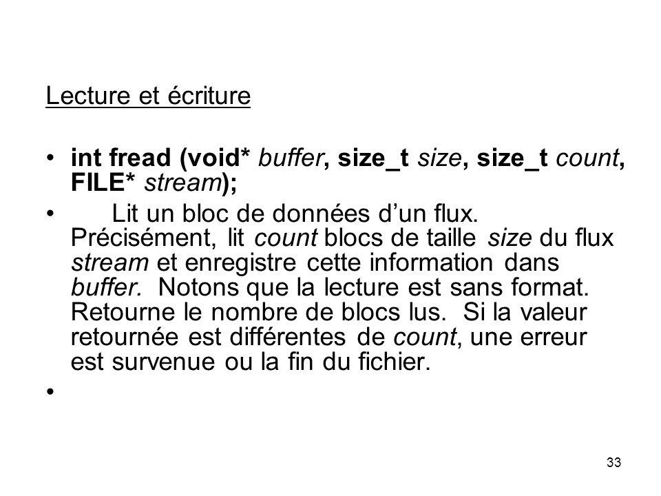 Lecture et écriture int fread (void* buffer, size_t size, size_t count, FILE* stream);