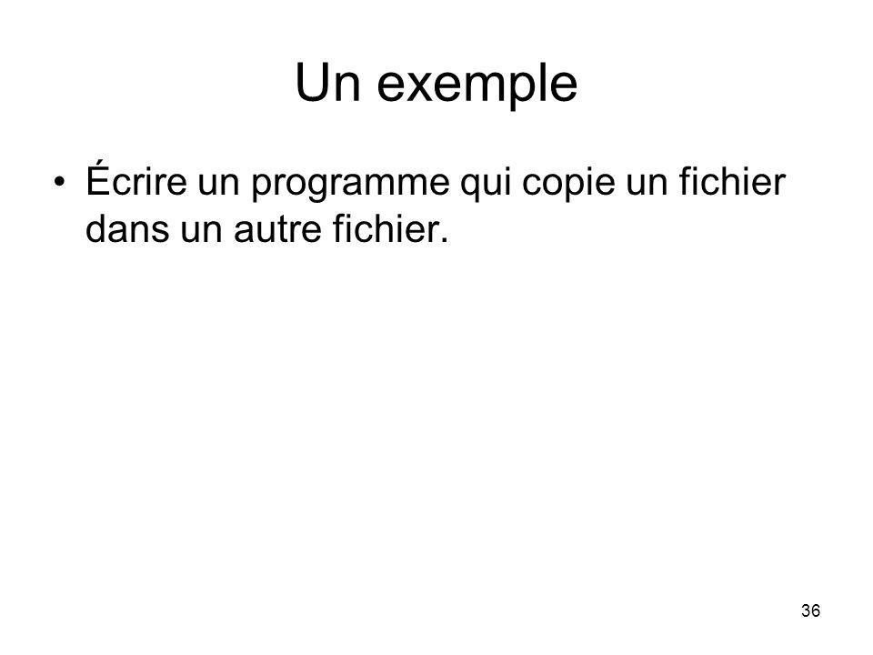 Un exemple Écrire un programme qui copie un fichier dans un autre fichier.