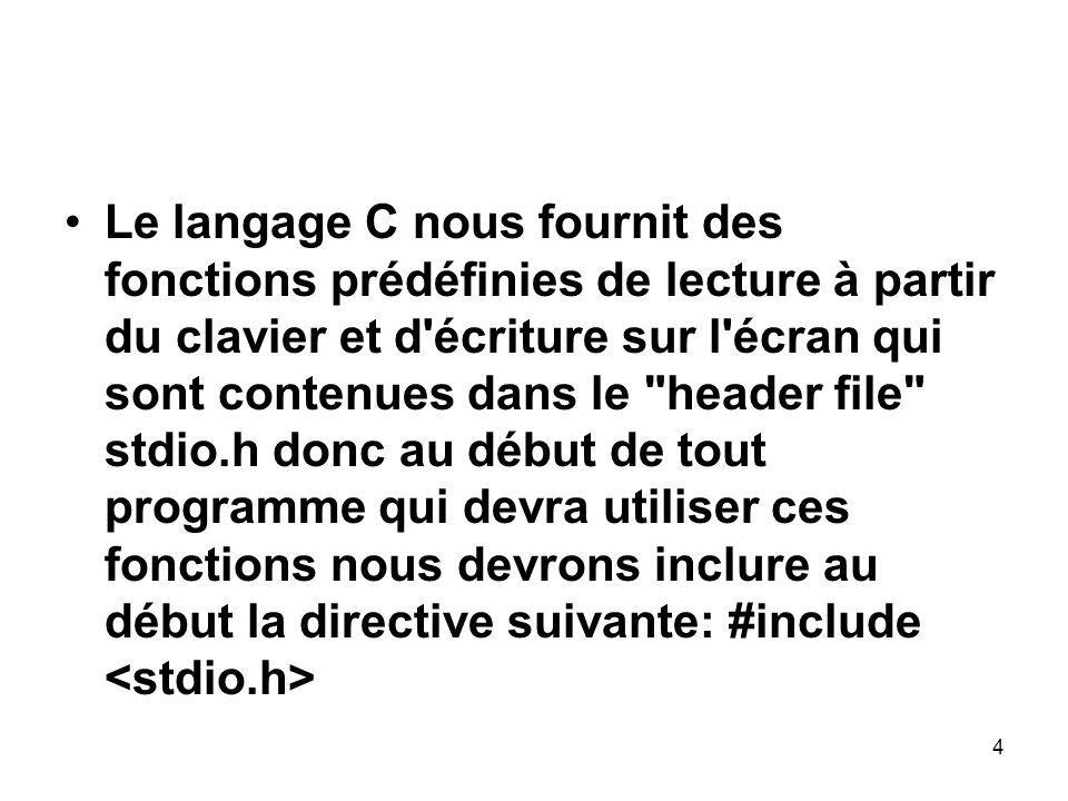 Le langage C nous fournit des fonctions prédéfinies de lecture à partir du clavier et d écriture sur l écran qui sont contenues dans le header file stdio.h donc au début de tout programme qui devra utiliser ces fonctions nous devrons inclure au début la directive suivante: #include <stdio.h>