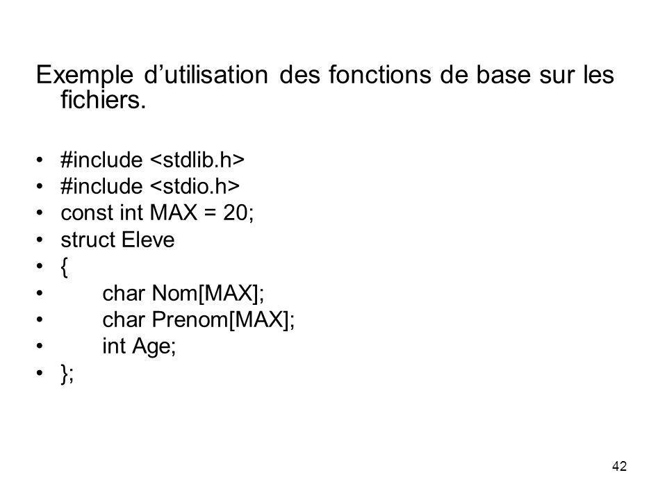 Exemple d'utilisation des fonctions de base sur les fichiers.