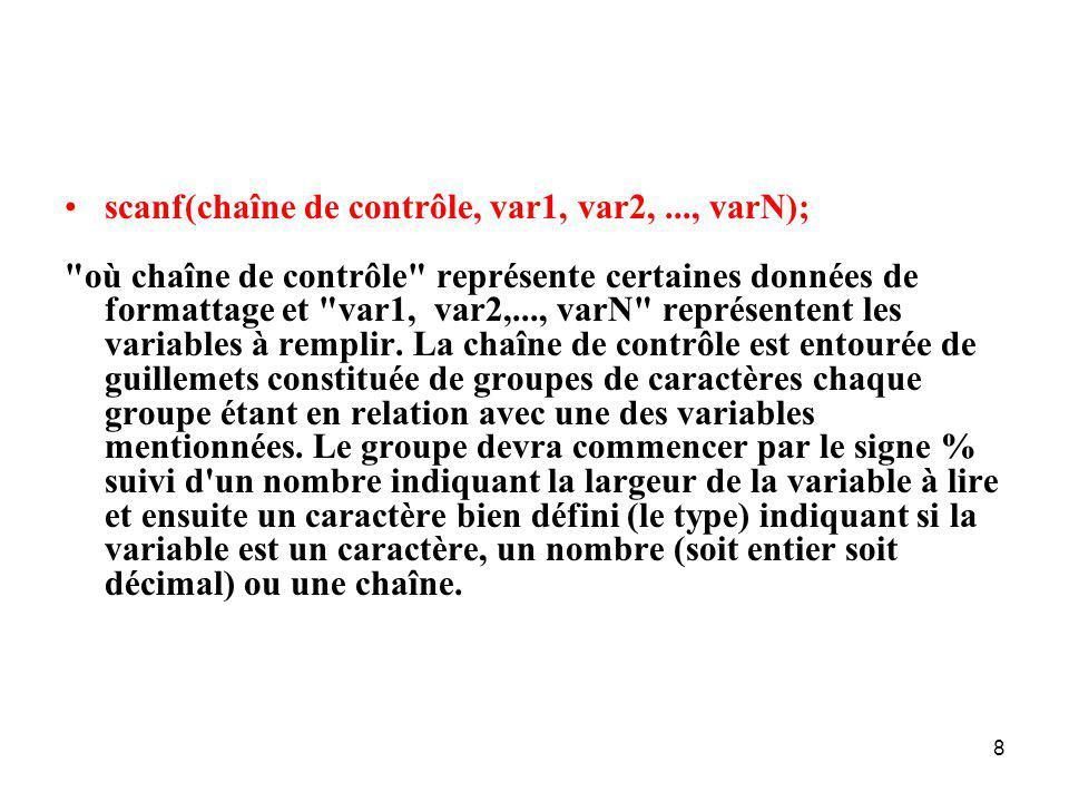 scanf(chaîne de contrôle, var1, var2, ..., varN);