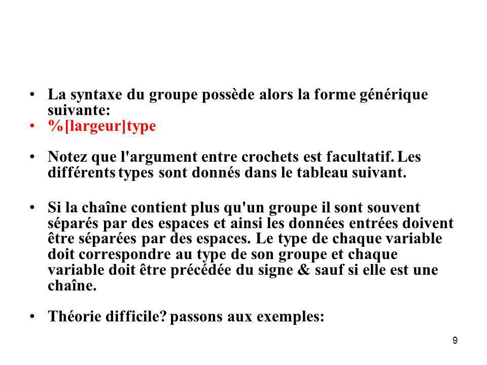 La syntaxe du groupe possède alors la forme générique suivante: