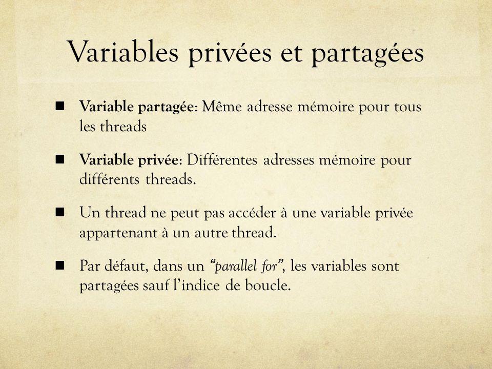 Variables privées et partagées