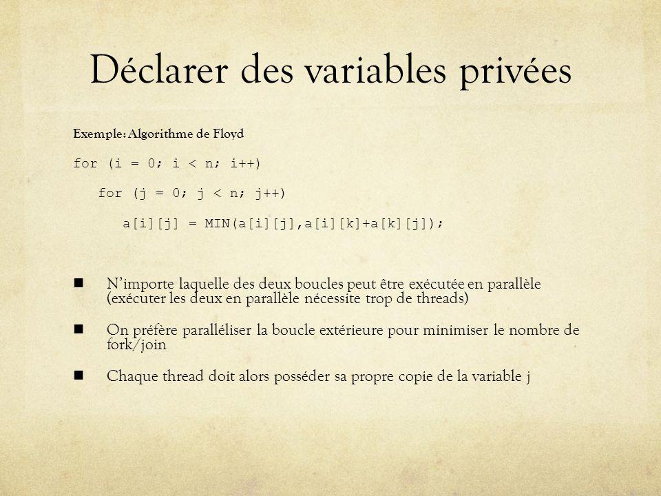 Déclarer des variables privées