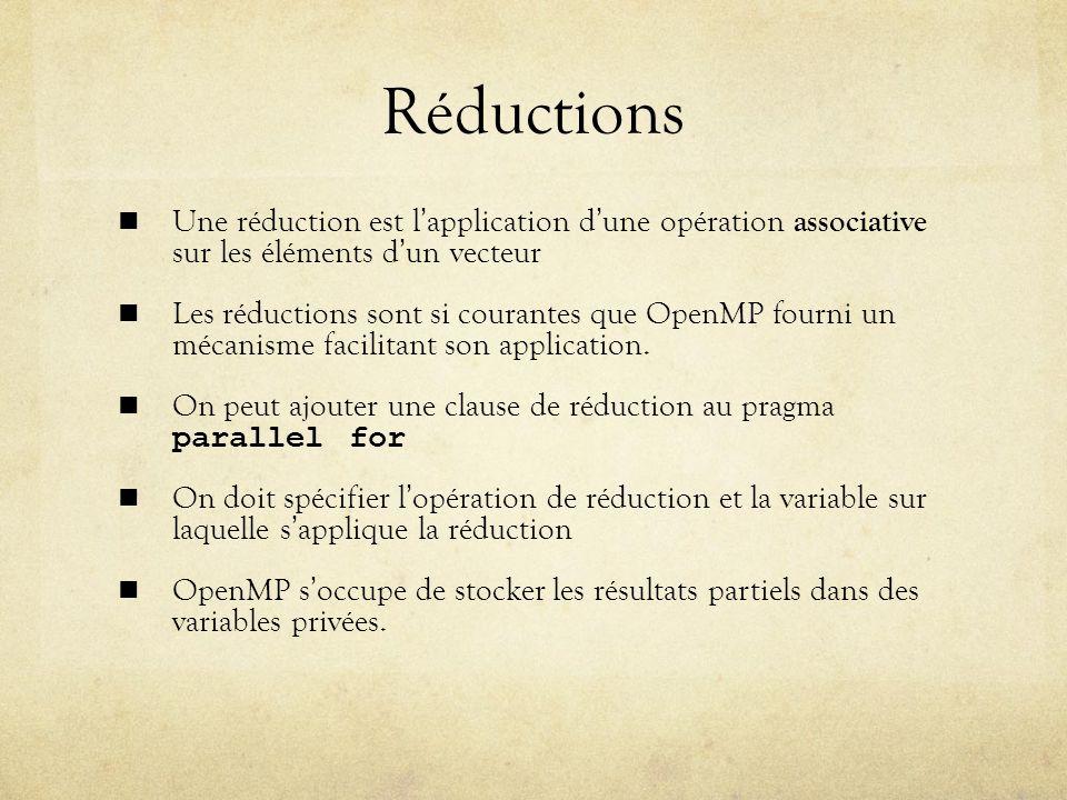 Réductions Une réduction est l'application d'une opération associative sur les éléments d'un vecteur.