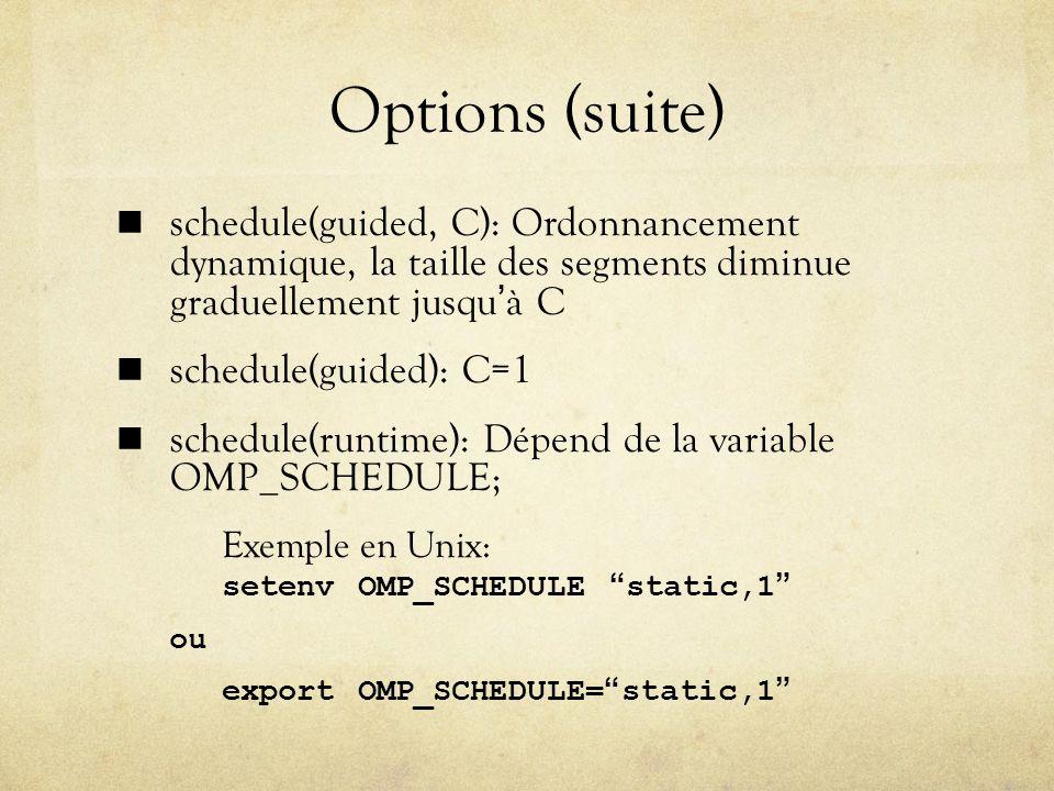 Options (suite) schedule(guided, C): Ordonnancement dynamique, la taille des segments diminue graduellement jusqu'à C.