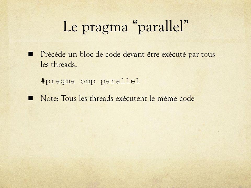 Le pragma parallel Précède un bloc de code devant être exécuté par tous les threads. #pragma omp parallel.