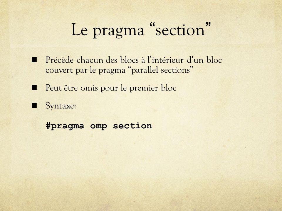 Le pragma section Précède chacun des blocs à l'intérieur d'un bloc couvert par le pragma parallel sections