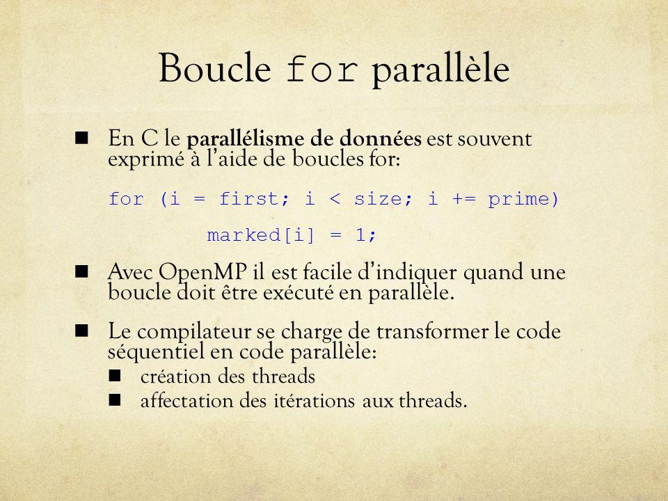 Boucle for parallèle En C le parallélisme de données est souvent exprimé à l'aide de boucles for: for (i = first; i < size; i += prime)