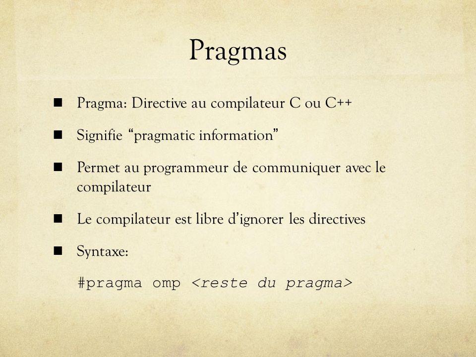 Pragmas Pragma: Directive au compilateur C ou C++